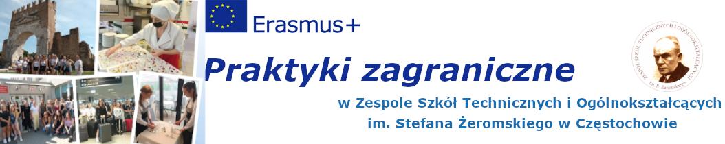Strona praktyk zagranicznych w Zespole Szkół Technicznych i Ogólnokształcących im. Stefana Żeromskiego w Częstochowie